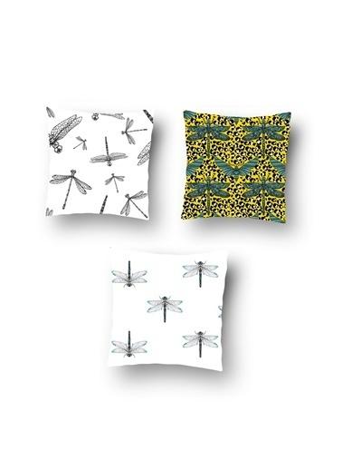 Tezkotekstil Tezko Tekstil Yusufçuk Desen Dijital Baskılı 3'Lü Kombin Dekoratif Yastık Kırlent Kılıfı Renkli